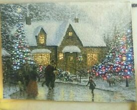 Fibre Optic Lit Tapestry Picture - Family Ice Skating Scene - 90cm x 65cm - perfect for Living Room