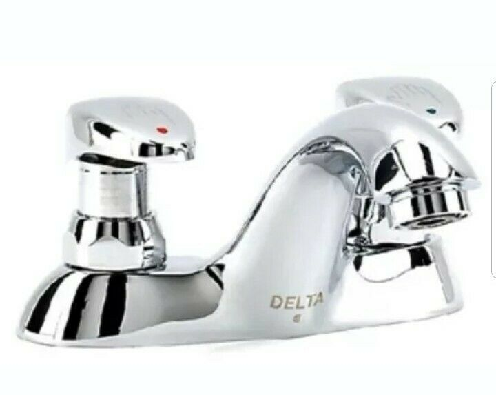 Delta Commercial 86T1153 Centerset Metering Bathroom Faucet (Slow-Close), Chrome