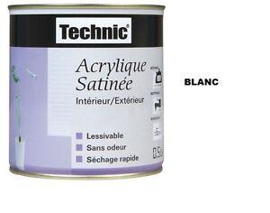 Peinture acrylique technic satin 0 5 l blanc lessivable for Peinture acrylique lessivable