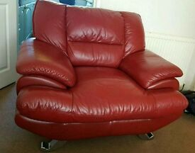 Leather (dark red) sofa Inc. Armchair