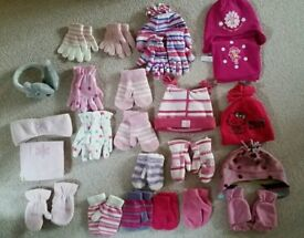 Girls hat, mittens, gloves, ear muff and scarf bundle