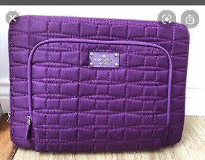 """Kate Spade Macbook pro 13"""" Laptop Case sleeve quilted purple Used"""