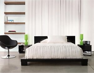 Black queen bed, night stand and 3 drawer chest