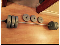 47.5kg bar bell for sale (10kg bar and 37.5kg weights)
