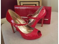 Dune Stilettos, red patent, size 7 and matching bag