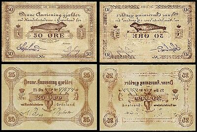!COPY! GREENLAND DENMARK 50 ORE 1875 + 25 ORE 1888 BANKNOTES !NOT REAL!