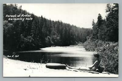 Arden California Swimming Hole RPPC Bathing Girl~Sacramento County Photo Zan (Arden California)