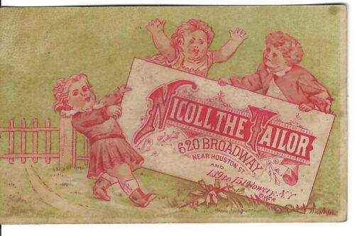 AM-054 NY, New York, Nicoll the Tailor Advertising Trade Card, Three Children