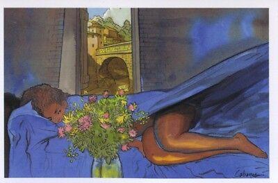 Carte postale Rencontres Femme nue dans draps bleus Crognote Productions