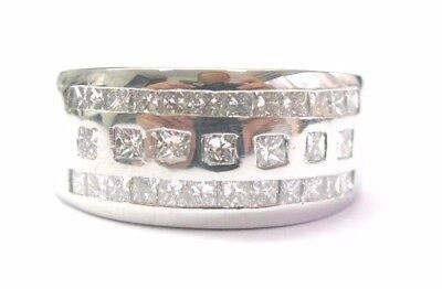 (Fine 3-Row Men Platinum Princess Cut Diamond Band Ring 1.25CT)