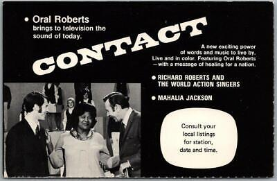 """Vintage 1970s ORAL ROBERTS Postcard  """"CONTACT"""" TV Television Show Unused"""