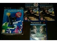 3 PlayStation 2 games and PlayStation move starter pack