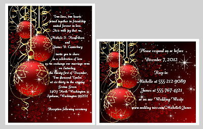 100 Personalized Custom Winter Christmas Snowflakes Wedding Invitations Set