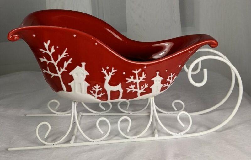 Sleigh Red White Porcelain Figurine Christmas Village Santa Candy Bowl Tray
