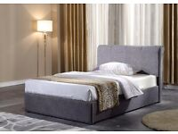 Grey fabric sleigh bed £129.00