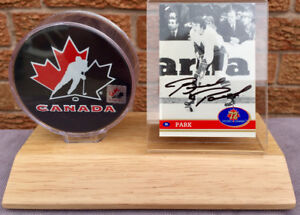 Brad Park 1972 Team Canada autographed signed card plus puck