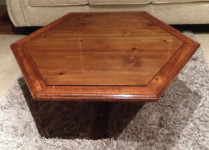 Beautiful Hexagonal Wood Coffee Table With Glass Top