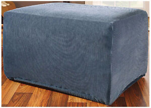 Sure Fit Stretch Stripe Ottoman Slipcover Navy, New