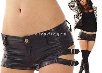 Vintage Girl Women Mini Faux Leather Shorts Pants Punk Rock Pole Dance Low Waist