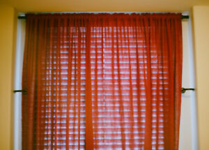 Maroon Curtains with Rod and Drawbacks for Sale!