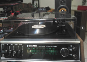 Silver/HK hifi full Receiver and Turntable with speakers