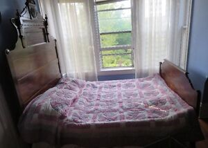 Antique high back double bed with matching dresser