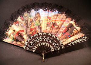 Vintage Spanish Fan Painted Linen Bull Fight Bullfighting Peterborough Peterborough Area image 1