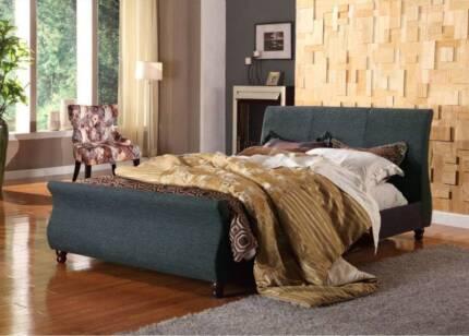 SALE BRAND NEW Upholstered Grey Linen Fabric Bed Frame BONDI