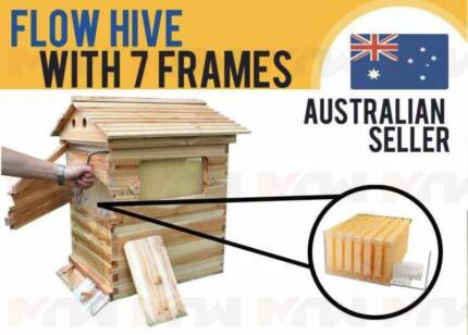 Wooden Beehive Brood House Box + 7pcs Auto Flow Honey Hive Frames