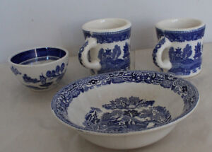 4 x Blue Willow Coffee Mug Cup and Bowl Japan & England