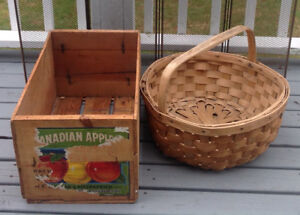 Antique wooden box and large native basket