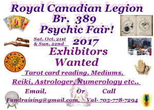 Fall Psychic fair booking Exhibitors.