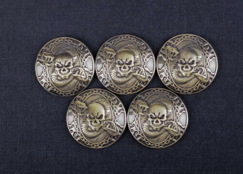 1-1//8/'/' Western Fortune Cover Screw Back Concho Antique Brass Skull Saddle Tack