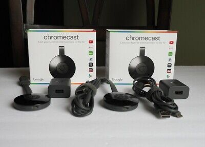 Lot of 2 Google Chromecast (2nd Generation) HD Media Streamer - Black - EUC