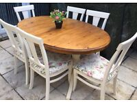 Shabby chic solid pine ducal extendable table and 6 chairs refurbished