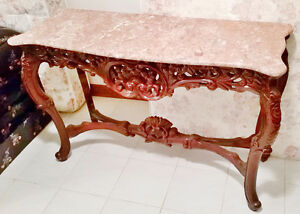Beautiful Mahogony and Marble Entrance Table