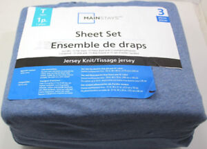 MAINSTAYS Twin 3 Pieces Sheet Set - Jersey Knit - New