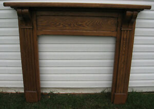 SOLID ANTIQUE OAK FIRE PLACE MANTLE