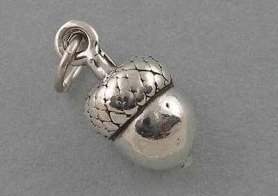 ACORN Small Solid Sterling Silver .925 Charm Pendant Solid Garden Oak Tree 1771