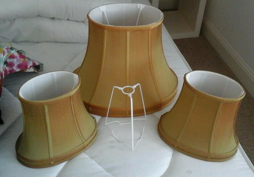 SET OF THREE SILK LINED LAMPSHADES