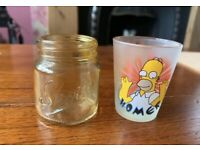 2x Shot Glasses - Simpson's Homer Simpson & Yellow 'Shots' Script Pair Joblot
