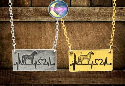 New Horse EKG Heart Beat Shape Engraved Rustic Gold Love Silver Pendant Necklace