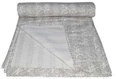 Queen Size Pasisley Kantha Quilt Reversible Bedspread Bedding Throw Blanket for sale  Shipping to India