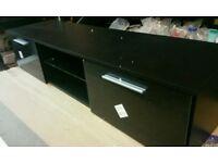 A brand new black 2 door TV unit with glass shelve x led light.