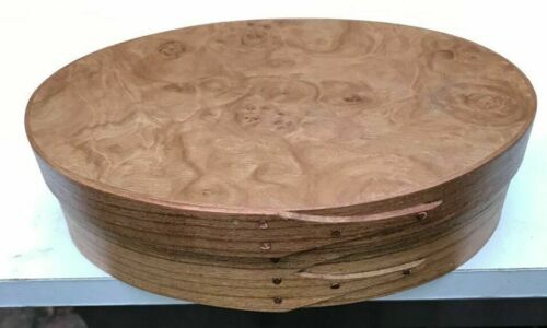 CHERRY AND LAUREL BURL SHAKER OVAL BUTTON BOX SIZE # 3