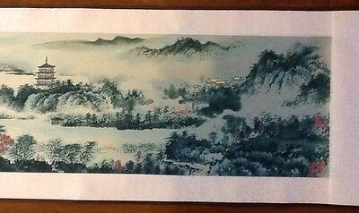 "WATERWAY SCROLL Painting Wall Art Chinese, 96"" X 10.5"", Collectable"