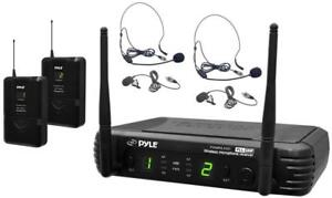 PYLE PDWM3400 UHF DUAL WIRELESS MICROPHONE SYSTEM - FOR PROFESSIONAL PRESENTATIONS !!
