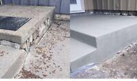 Concrete restoration, concrete resurfacing, concrete slabs.