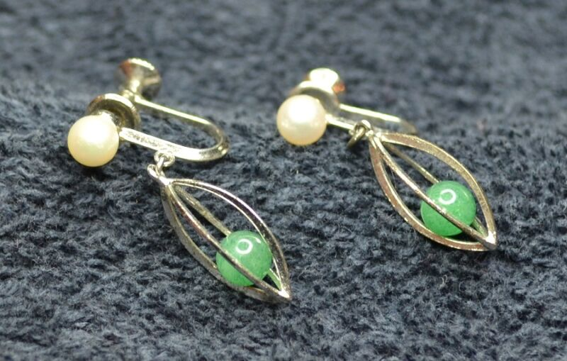 Sterling Silver ~2 gram Matching Set Earrings Caged Green Clip Ons