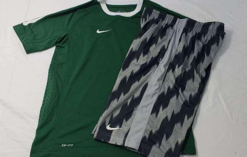 Nike Set Boys Size Large L Shirt Shorts Green White Gray Black Drifit Swoosh